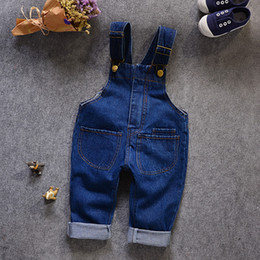 Wholesale Kids Overalls Pants - 2018 spring and autumn new style kids Overalls boys and girls baby cowboy strap pants children's fashion pocket Overalls