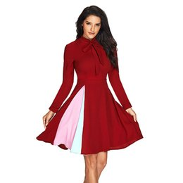 Wholesale Block Out - Women Bow Tie O Neck Flared Dress Fashion Color Block Patchwork Long Sleeve Night Club Party Mini Dress LC61846