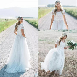 Wholesale Jewel Short Chiffon White Dress - Modest Summer Beach Bohemia Wedding Dresses 2018 Short Sleeves A Line Chiffon Long Bridal Gowns Cheap Wedding Gowns vestido de novia