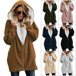 2019 верхняя одежда куртки толстовки девочки Женщины Шерпа куртки с капюшоном пальто зима теплая верхняя одежда толстовка с капюшоном молния флис пуловер толстовка уличная девушка одежда GGA1232 скидка верхняя одежда куртки толстовки девочки