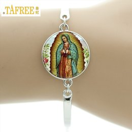 Wholesale Catholic Virgin Mary - whole saleTAFREE Brand Our Lady of Guadalupe Bracelet Virgin mother Mary Religious Catholic Glass dome bangle madonna Charm Jewelry D1010