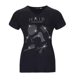 Wholesale Bling Shirts Rhinestone - Women Hair Stylist Bling Bling Rhinestones T-Shirt