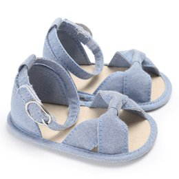Wholesale baby crib shoe sizes - Summer Toddler Newborn Baby Girls Buckle Strap Bow Soft Crib Shoes Size 0-18 Months