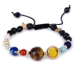 2019 bracelet univers DIEZI Univers Galaxy les Huit Planètes dans le Système Solaire Etoile Guardian Pierre Naturelle Perles Bracelet Bracelet pour Femme Homme bracelet univers pas cher