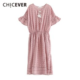 Wholesale Butterfly Clubs - CHICEVER Vintage Tassel Women Dress Female Butterfly Sleeve Print Loose Big Size 2018 Spring Women's Dresses Clothes Fashion New
