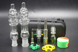 Wholesale Wholesale Mini Glass Jars - 2pcs mini Nectar Collector kit with titanium or quartz nail clip wax tool silicon jar ego zipper case glass water bongs smoking pipes
