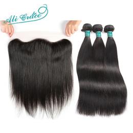 Grace capelli brasiliani online-Capelli diritti brasiliani di Ali Grace Hair con i pacchi di Remy della chiusura 3 umani con 13 * 4 parte libera Frontal del merletto dell'orecchio a orecchio