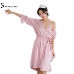 c4627c8cadc Smmoloa Women Sexy Silk Stain Robe Nightgown Set Lace Sleepwear Pajamas  2018 New Style