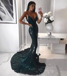 Wholesale Cheap Party Dresses For Women - Shinny Green Sequins Sweep Train Evening Dresses For Women Formal Occasion Parties 2018 Sexy Mermaid Spaghetti Straps Prom Gown Cheap
