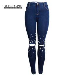 Los pantalones vaqueros lindos para las mujeres online-Mujeres Jeans Pearl  2018 Primavera Otoño Moda 4d71862a1ab8