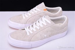 Wholesale Casual Tennis Shoes For Women - BEIGE TTC The Creator X One Star Golf Ox Le Fleur Olive Green Yellow Beige Sunflower Casual Fashion Running Skate Shoes Sneakers for Hip Hop