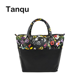 Wholesale Open Combination - TANQU Waterproof Faux PU Leather Upper part Floral Insert Inner Pocket Plus Handle Combination for Classic Mini Obag O Bag