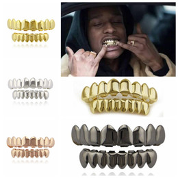 Wholesale vampire top - Gold Plated Hip Hop Teeth Grillz Top Bottom Grill Set Party Cosplay Vampire Grills Sets OOA4856