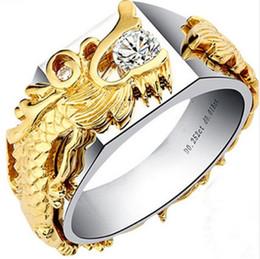 2019 sterling silber 925 drachenringe 0.25Ct Dragon Ring für Männer 925 Sterling Silber Weiß Gold Farbe Ring China Lange Synthetische Diamanten Ring Männlichen Hochzeit Schmuck rabatt sterling silber 925 drachenringe