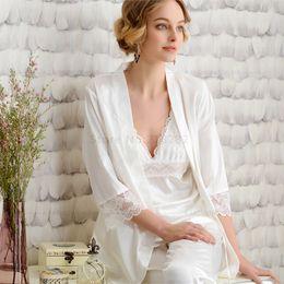 Spring Autumn 3 Piece Set Womens Silk Satin Pajamas Set Pink Nightgowns  Femme Leisure Lounge Set Women Sleepwear Best for Gifts f96dcabd1