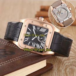 39mm relojes deportivos Rebajas Hot Seel Galbee XL 39mm Dial Negro Asiático 2813 Reloj Automático Para Hombre Caja de Oro Rosa Correa de Cuero de Alta Qality Relojes Deportivos para Hombres