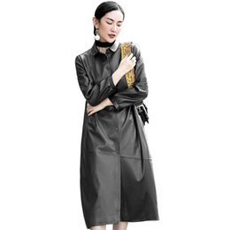 Herbst Winter Jacke Frauen Kleidung 2018 100% Schaffell Mantel Echte Lederjacke Frauen Koreanische Lange Schwarze Weibliche ZT516 von Fabrikanten