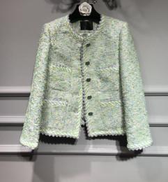 Ropa de ropa de tweed online-Chaqueta de tweed verde menta Botón de cuello redondo UP Bolsillos delanteros Manga larga Diseñadores famosos Moda 2018 Oficina de la señora ropa Abrigo
