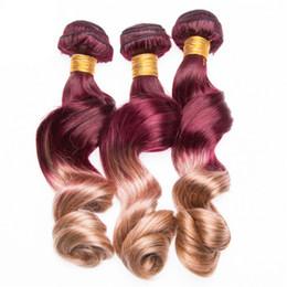 Tessuto biondo biondo ombre online-Nuovo arrivo 99j e 27 Honey Blonde Ombre capelli tesse due toni estensioni dei capelli bordeaux colorato 3 Pz / lotto Virgin Indian Hair