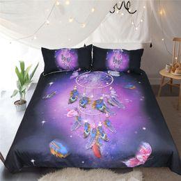 Feder bettdecke könig online-Romantische lila Dreamcatcher Bettwäsche Set Traumhafte Schmetterling Bettbezug Kissenbezug Bett Set Federn Bettwäsche Twin Full Queen King Size