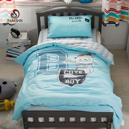 Ropa de cama de impresión activa online-Parkshin Child Cartoon Blue Lovely Baseball Active Juego de cama de impresión 100% algodón suave Protect Kids Skin Comfortable Colcha
