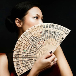 Wholesale Hand Carved Crafts - Wholesale-20cm Fragrant Home Decoration Crafts Bamboo Wooden Fan Summer Accesory Art Folding Carved Hand Fan New Hot