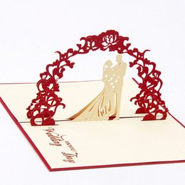 Wholesale Kirigami 3d Wedding - Wholesale- Creative Sweety Wedding Greeting Kirigami Card 3D Pop Up Paper Laser Cut Custom Postcards Wishes Gifts for lover