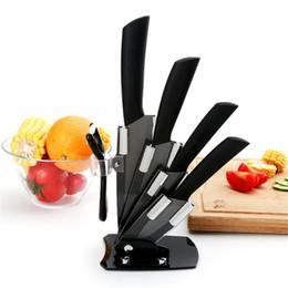 """Cuchillos de cocina de alta calidad online-Cuchillo de cerámica de alta calidad de la marca negro kicthen knife set 3 """"4"""" 5 """"6"""" inch + peeler + Acrylic Holder / stand Chef Cuchillo de cocina"""