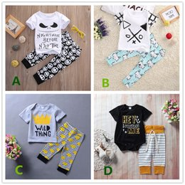 Wholesale Toddler Boy White Romper - Baby boys clothes toddler kids clothing romper T-shirt + pants 2-pieces set animals striped summer casual babies boy boutique outfits 0-24M