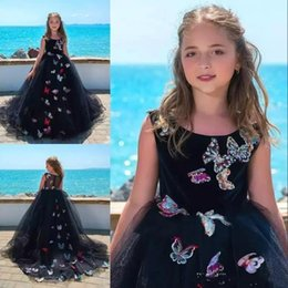 Wholesale Classy Girls - Vintage Flower Girl Dresses Classy Black Tulle Delicate Butterfly Applique Sweep Train Pageant Gowns Communion Dress Formal Wear