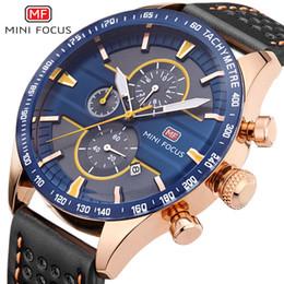Marcas de relógio de pulso japonês on-line-MINIFOCUS Mens Relógios Top Marca de Luxo Relógio de Esportes Ao Ar Livre Pulseira De Couro Japonês Quartz Chronograph Man Relógios de Pulso MF0002G