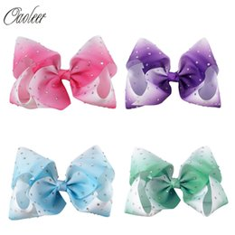 Wholesale Rhinestone Hair Dance - 4pcs Lot 7 Large Ombre Full Rhinestone Hair Bow With Clip Girl Dance Hairpin Boutique Hair Accessories For Kids