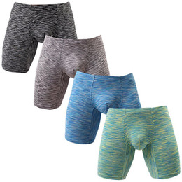 Wholesale long boxers - Summer Men's Polyester No Ride Up Boxer Briefs Long Leg Men Underwear Low Rise Trunks with Pouch Quick-drying Underpants KC-NewN518