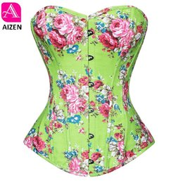 Wholesale Corset Top Patterns - Wholesale-AIZEN women corsets bustiers tops print floral satin lingerie vintage strapless overbust corset zip pattern corselet green pink