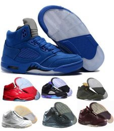 Wholesale China Sneakers - New Men Basketball Shoes Sneakers 5 Mens Women Blue Olympic Cement Sports 5s V Tennis Trainers China Brand Original Zapatos Hombre Femme US