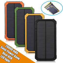 Wholesale solar light mobile charger - For iphone7 XIAOMI Solar Power Bank Dual USB ports Mobile power with LED light 20000mAh Portable waterproof charger bateria external