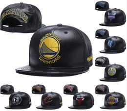 Wholesale baseball full cap hat - 2018 New warriors Flat Baseball Hats For Men Women Top Quality Full Black Leather Snapback Hat Embroidered logo Sport Adjustable Caps
