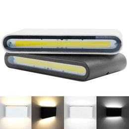 Wholesale modern porch lights - Outdoor Waterproof IP65 6W 12W COB LED Porch Lights Modern Indoor Decor Up Down Dual-Head Aluminum Wall Lamp AC85-265V