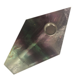 Wholesale Fluorite Crystal Point - DingSheng Rainbow Fluorite Smoking Pipe Natural Large Crystal Quartz Stone Wand Point Cigars Pipes With Metal Filter For Health Smoking