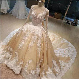 Wholesale Simple White Shirt - 2018 Champagne Bridal Gowns With White Lace Applique Jewel Sheer Neck Long Sleeves Wedding Gowns Back Zipper Sweep Train Custom Made Gowns