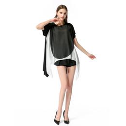 Vêtements pour femmes 2018 Summer Hot Coat Nouvelle robe en mousseline de soie double tissu Sexy jupe mixte noire et blanche irrégulière ? partir de fabricateur