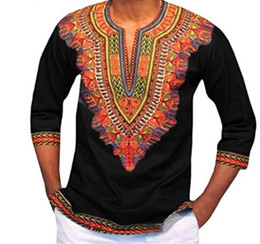 Wholesale Male Shirt Styles - Men Dashiki Polyester Real Sale African Traditional Dresses Floral Print Substitutes Style Of Sleeve Shirt Male Men Clothing