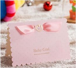 Envío gratis 30 unids Pink Girl / Blue Boy Cartas de invitación de cartón 3D Tarjeta de invitación del día de la fiesta de cumpleaños de la luna llena del bebé desde fabricantes