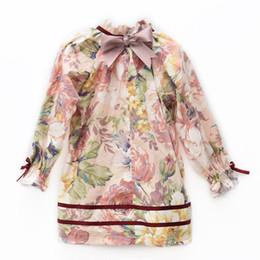 Весенние цветущие цветы онлайн-цветы платье 2019 весна INS новые поступления девушки высокого класса печати с длинным рукавом кружева воротник чистый хлопок платье высокого класса детская одежда