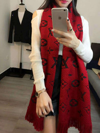 Wholesale winter scarf long - Women Scarf Winter Women Scarves Long Wrap Shawl Thick Warm Cotton Cashmere Chenille Women's Scarf