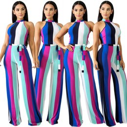 91f5b82455b Summer Rainbow Stripe Printing Overall Jumpsuits Sexy Vacation for Women  Wide Leg Pants Elegant Casual Holiday Beachwear Clothes With Sashes