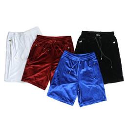 Wholesale Soild Gold - 2017 New Fashion Gold Velvet Short Men Soild Side Zipper High Steert Solid Color Shorts KANYE WEST With The Paragraph