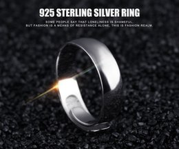 Wholesale Asian Cans - Ornament wholesale 925 pure silver creative light face, male ring opening ring can adjust the size and character of character lettering