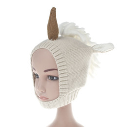 crochet maternity Coupons - Ins Cute Baby Unicorn Knit hats Beanies Cotton Warm ears protected Maternity Autumn Winter 3months-2years 2 Colors 2018 new arrival