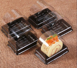 Wholesale Sushi Package - 135*85*92mm Plastic Clear Disposable Cake Box Single Individual Swiss Cake Boxes Food Dessert Packaging LLFA